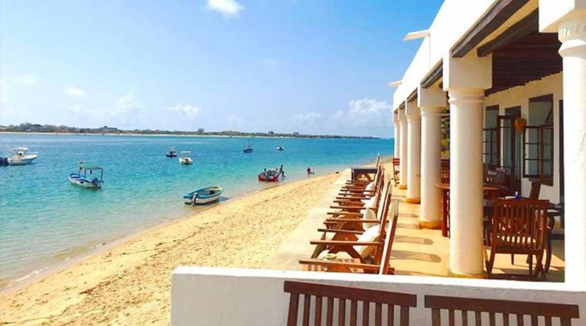beach view from sandy beach next to villa
