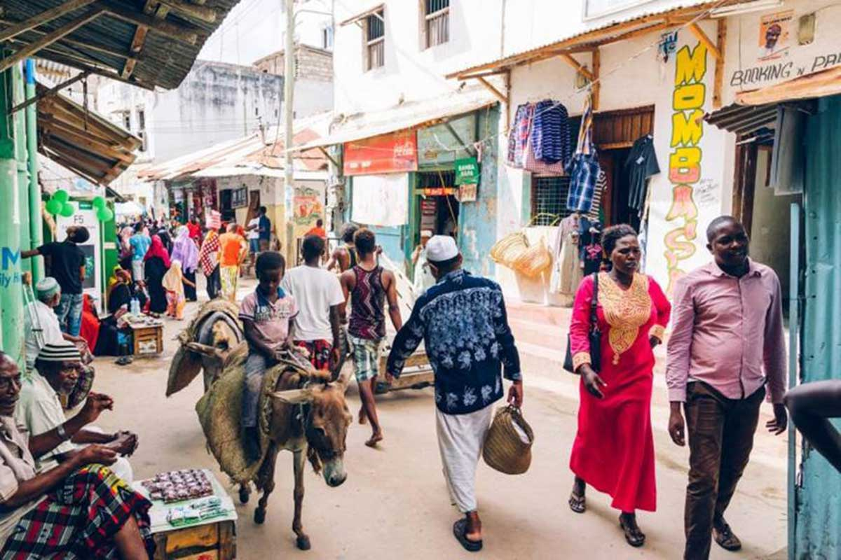 Africa culture in busy street