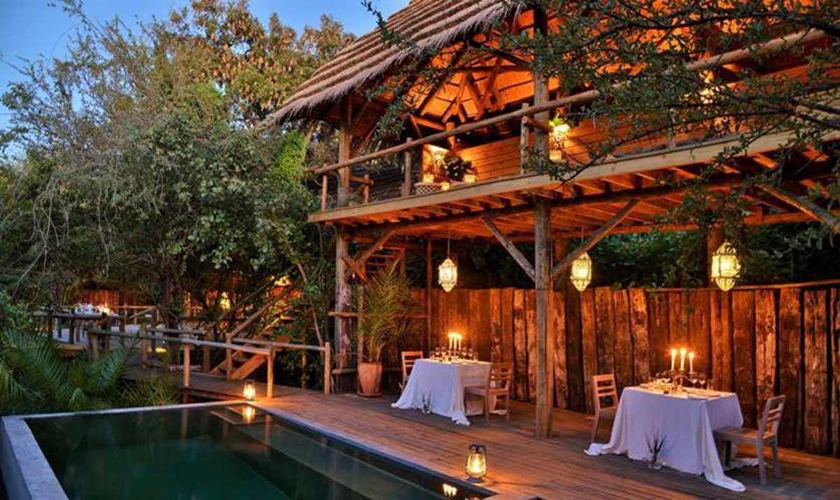 lit up safari resort at dusk
