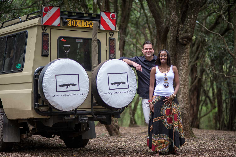 Ryan and Liza next to Socially Responsible Safari truck