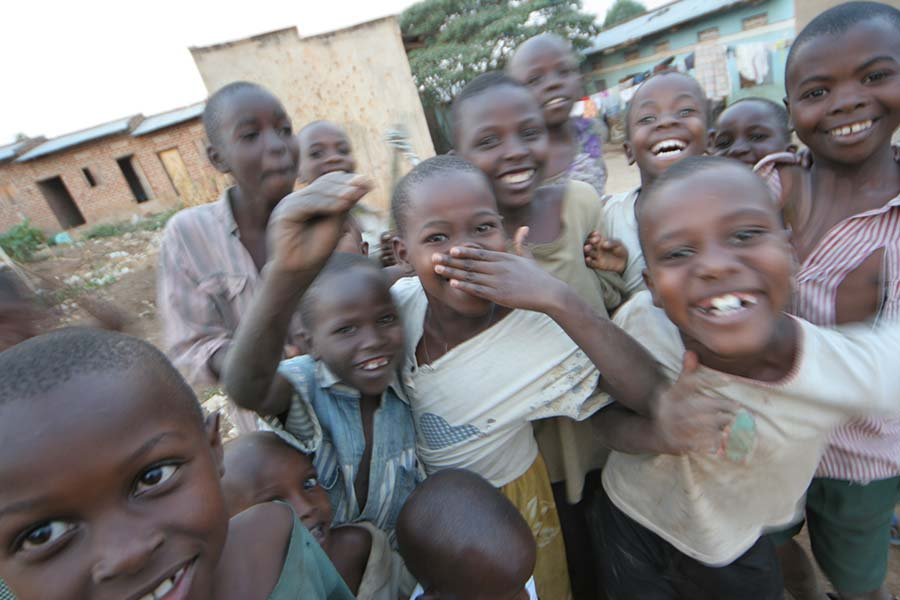 group of young boys at orphanage smiling for photo